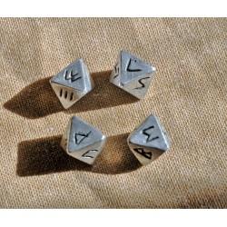 4 dés à 8 faces avec signes runiques pour tirage divinatoire    serie12